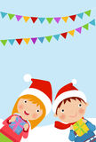Children with christmas presents - Vector illustration of Gifts for Christmas  Royalty Free Stock Photos