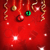 Children Christmas red background with symbols and texture squar Stock Photos