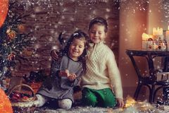 Children and Christmas story Royalty Free Stock Image