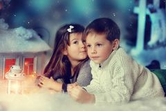 Children and Christmas tale Royalty Free Stock Image
