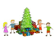 Children with christmas tree Stock Photography