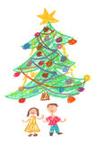 Children and Christmas tree - drawing. Happy children in front of beautiful colorful Christmas tree. Childs drawing made with pastel crayons Royalty Free Stock Photo