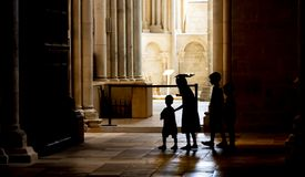 Children in the Church of Vezelay Service stock image