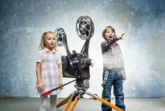 Children in a cinema Royalty Free Stock Photo