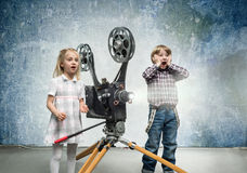 Children in a cinema Royalty Free Stock Image