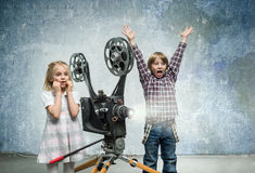 Children in a cinema Royalty Free Stock Images