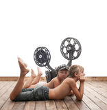 Children and cinema Royalty Free Stock Photos