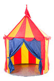 Children circus tent. Open children circus tent with flag on top - striped, white background Stock Images