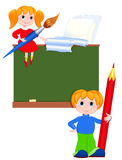 Children in the class. The boy with a pencil and the girl with a brush Royalty Free Stock Photos
