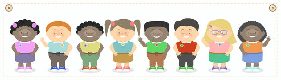 Children class, boys and girls of different nationalities Vect Stock Images