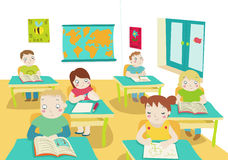 Children in classroom illustration. A class of children at work. Illustration Stock Photography