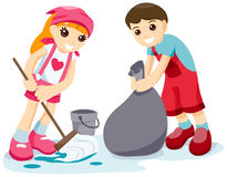 Children Cleaning Stock Images