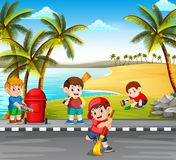 The children cleaning the road near the beach from the danger things to make it clean. Illustration of the children cleaning the road near the beach from the royalty free illustration