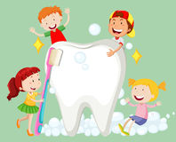 Children cleaning tooth with toothbrush Stock Photo