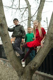 Children climb on tree Royalty Free Stock Photography
