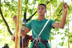 Children climbing in adventure park. Summer camp stock photography