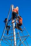 Children Climbing Spider Rope Stock Photos