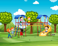Children climbing up the playhouse Royalty Free Stock Images