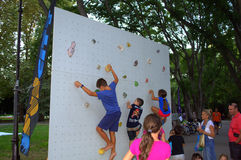 Children on climbing wall Stock Photography