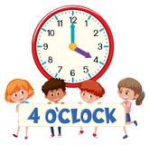 Children and clock 4 o`clock. Illustration stock illustration