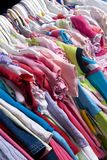 Children Clothes 03. A closet stuffed full of colorful summer wear Royalty Free Stock Photos
