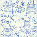 Children clothes doodles Stock Images