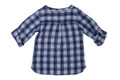 Children clothes. Fashionable blue checkered kids girl shirt wit. H half-length sleeves isolated on a white background. Summer fashion. Back site royalty free stock photo