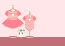Children clothes for little girl and boy on pink background ,Vector illustrations Royalty Free Stock Photography