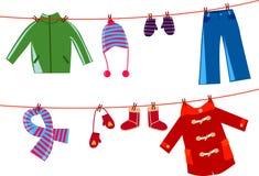 Children clothesline Stock Images