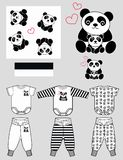 Children clothing panda pattern. Three panda pattern and one stripe pattern artwork for children clothing Stock Image