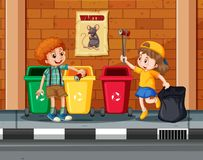 Children Collecting and Cleaning City Stock Photography