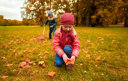 Children collecting leaves in autumn park Royalty Free Stock Photos