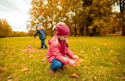 Children collecting leaves in autumn park Stock Photography
