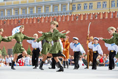 Children collective performance on Red Square Stock Photography
