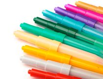 Children color pens creativity background. Child`s color marker pens on white art creativity background royalty free stock photo