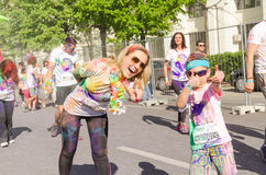 Children at The Color Run Stock Image