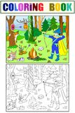 Children color, white and black arrow in the forest with animals royalty free illustration