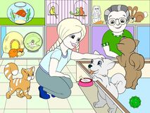 Children colored cartoon contact zoo. pet Shop Stock Photo