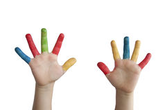 Children colored hands. Royalty Free Stock Photo