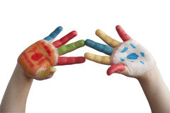 Children colored hands. Royalty Free Stock Photography