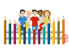 Children with colored pencils Royalty Free Stock Photos