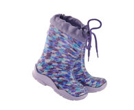 Children colored rubber boots isolated . Royalty Free Stock Photo