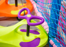 Children colorful baby toy cart ride parking in playground space Royalty Free Stock Photo