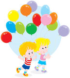 Children with colorful balloons. Little girl and boy walking with colorful holiday balloons Stock Image