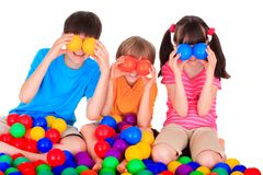 Children with colorful balls Stock Image