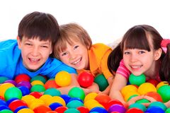 Children and colorful balls Stock Photography