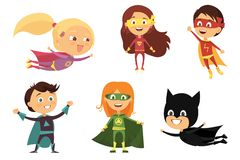 Children, colorful costumes of various superheroes, isolated on white background cartoon. Illustration stock illustration