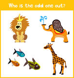 Children colorful educational cartoon game puzzle page for children's books and magazines on the theme extra find the animal among Royalty Free Stock Images
