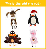 Children colorful educational cartoon game puzzle page for children's books and magazines on the theme extra find the animal among. The animals living on the Royalty Free Stock Image