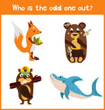 Children colorful educational cartoon game puzzle page for children's books and magazines on the theme extra find sea animal among Stock Images